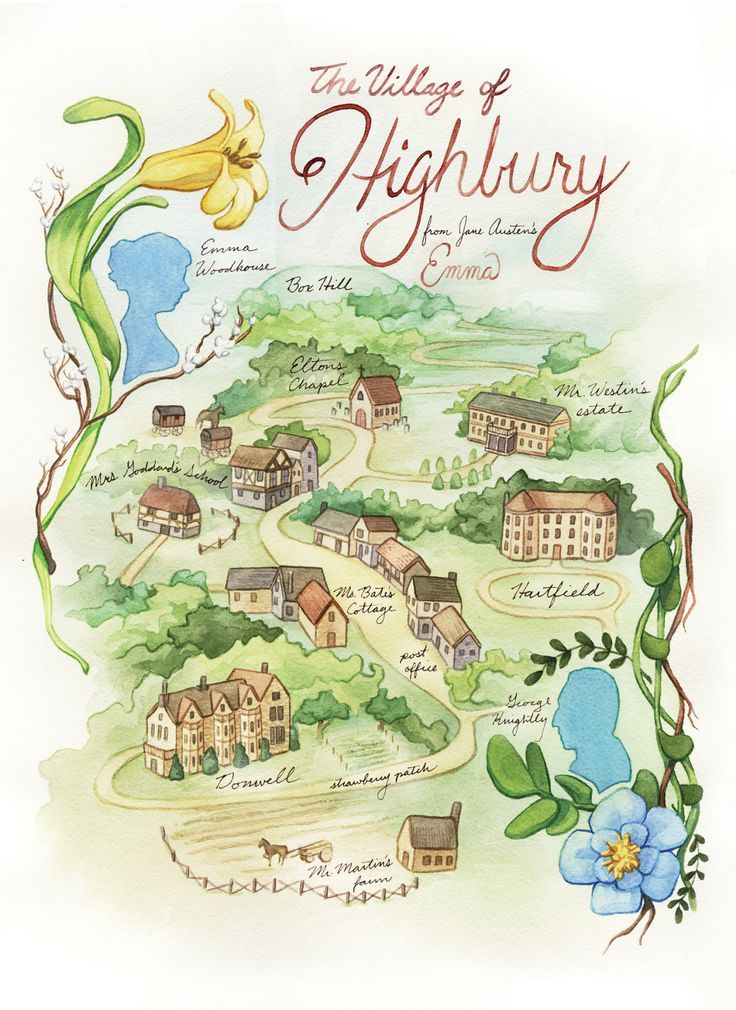 An Emma Gazetteer: A Guide to the Real and Imagined Places in the Novel Emma by Jane Austen. www.pemberley.com . [IMG: marygcorpus:A map of Highbury from Jane Austen's Emma]