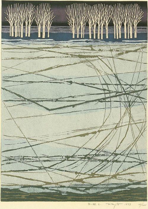 KITAOKA Fumio(北岡文雄 Japanese, 1918-2007) White Grove C 白い林 C 1973 Woodblock print via