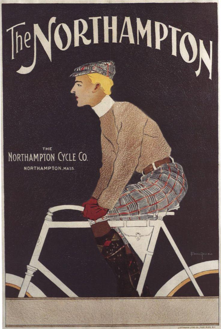 Cartel Vintage Hombre en bicicleta el Northampton publicidad casa decoración pared decoración arte Giclee impresión cartel A4 A3 A2 tarifa impresión grande envío