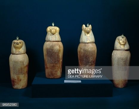 Treasure of Tanis, four canopic jars of Psusennes I made of painted alabaster