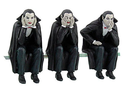 Vampires Speak Hear See No Evil Computer Monitor Toppers / Shelf Sitters Figurine Statue Set