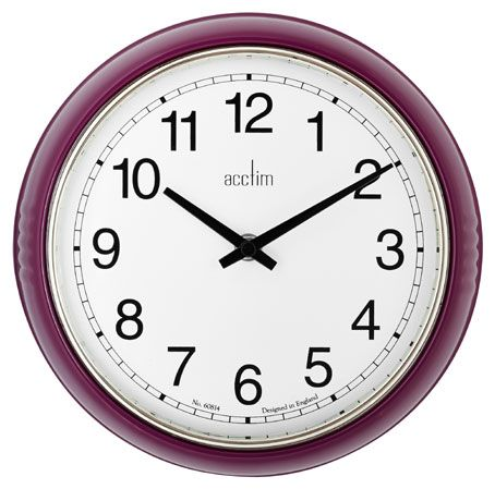 PURPLE METAL BORDER DOMED GLASS LENS WALL CLOCK