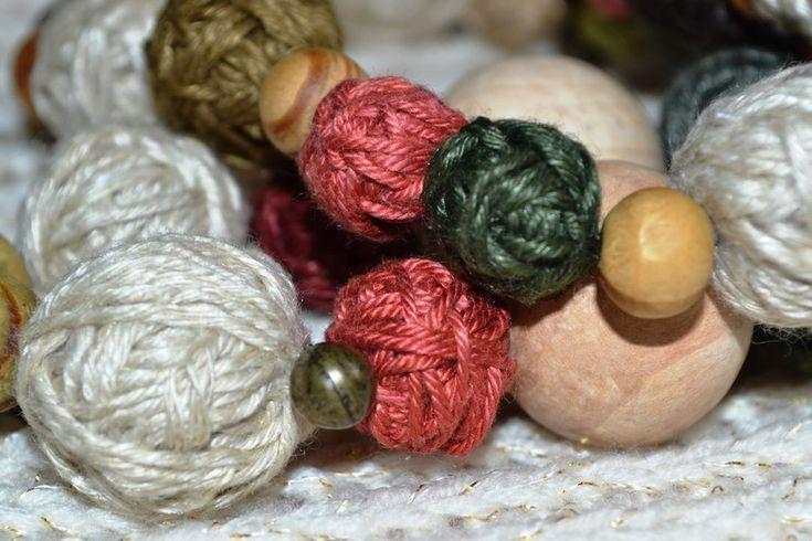Yarn beads for my fiber jewelry.    #fiberjewelry #earrings #lifehack #yarnjewelry #eco #woodenbead #itwasyarn #yarnball #yarnbeads