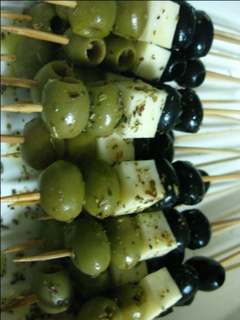 Marinated Olives and Cheese Skewer