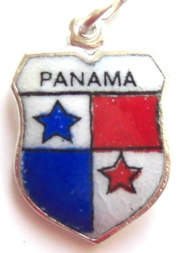 Panama Flag Silver Enamel Travel Shield Bracelet Charm | eBay