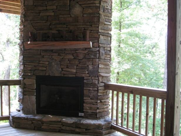 Deck Corner Stone Fireplace On Deck Home Building