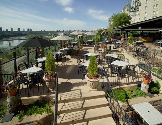 Marriott Courtyard Hotel patio perched high above the river valley, downtown Edmonton
