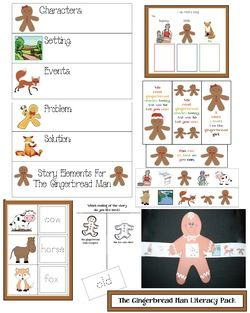 Gingerbread activities: FREE Common Core literacy packet for the Gingerbread Man story.  Includes pocket chart cards with story elements, graphic organizer for beginning, middle end, 40 traceable word cards, sequence the story craft, character cards & more.