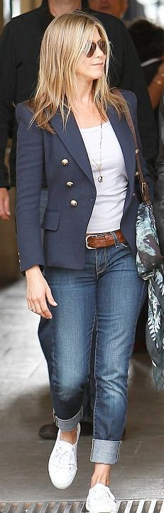 Gorgeous navy blazer completes this look. Jennifer Aniston style.