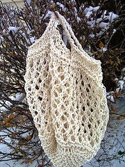"""I'm making my own reusable grocery bags from this """"market tote"""" pattern I found on Ravelry."""