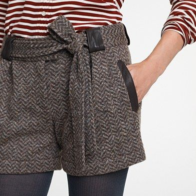 Beyond darling...these with cabled tights would be uber-prep! #shorts #tweed #jcrew