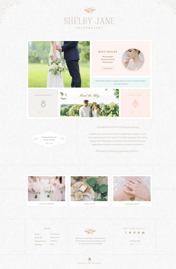 Shelby Showit 5 Website Template design for photographers.   Vintage, Sweet, Soft, Approachable, Floral
