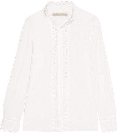 Vanessa Bruno - Gina Cotton, Linen And Ramie-blend Voile And Lace Shirt - White