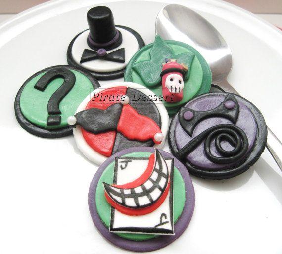 Edible BATMAN Cupcake Toppers VILLAINS Set   by PirateDessert