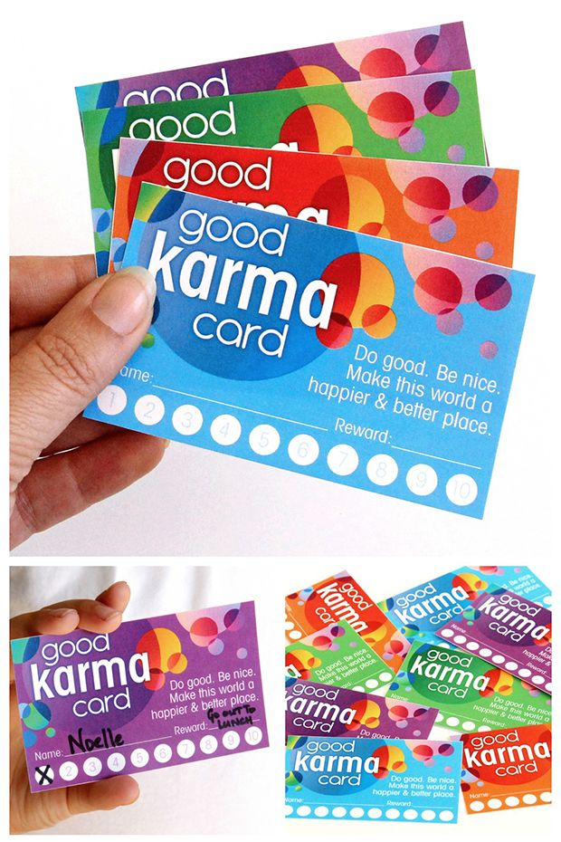 Free printable. Why not encourage and reward good deeds. Print out these fun cards and bring on the good karma. Great for home, class, camp, travelling, etc.