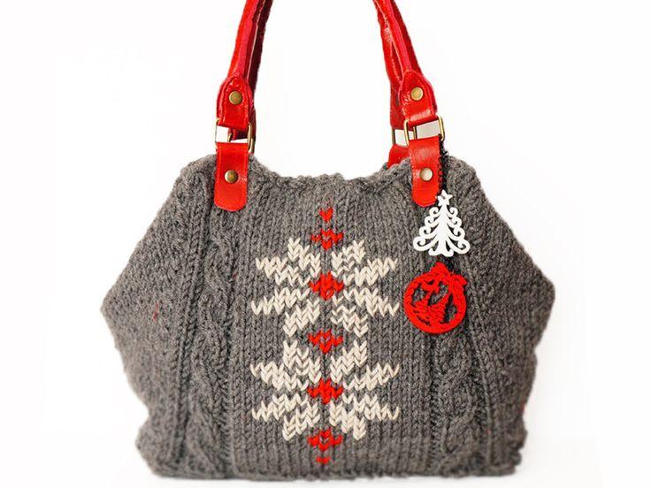 bag-Christmas Grey Shoulder Bag Celebrity Style With Genuine Leather Red Straps / Handles hand bag hand made-knit bag $125