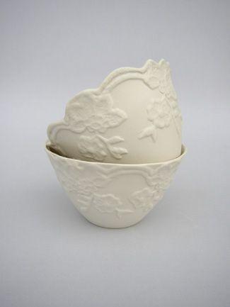 Lace sugar bowl - Sarah Reed Ceramics