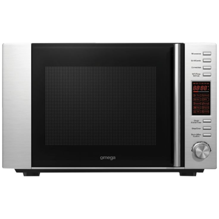 30L Microwave - Convection & Standard by Omega (OM30CX)  Omega 30 litre stainless steel microwave oven with grill and convection functions installed as a freestanding or integrated appliance.