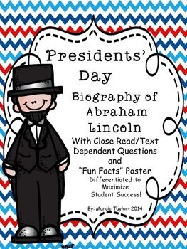 Fabulous (FREE) mini close reading unit on Abe Lincoln- differentiated to maximize student success!
