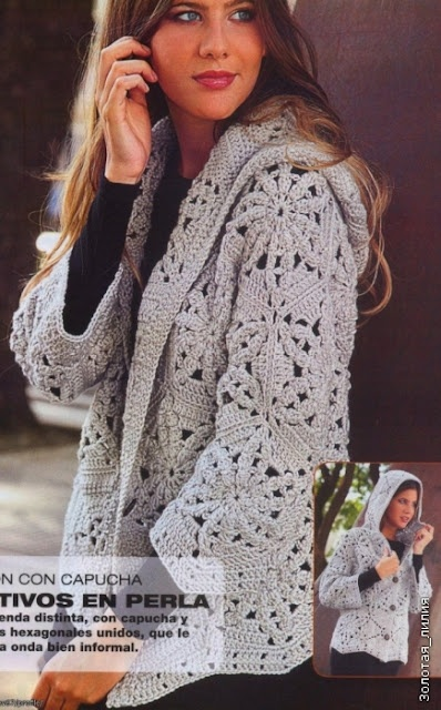 Cardigan di pizzo!  Construction schematic, with motifs etc  in charted crochet format.  Italian site w/ translation
