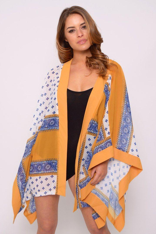 Yellow Scarf Print Kimono | Rare London