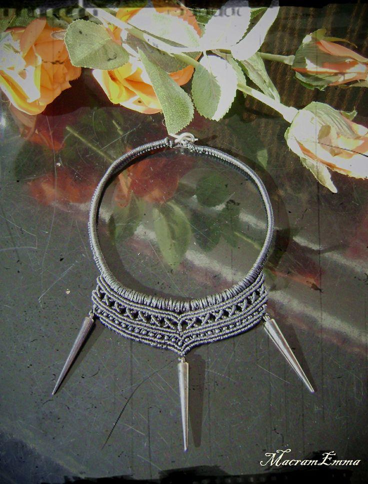 ..Spiky Black Macrame Necklace..by MacramEmma..