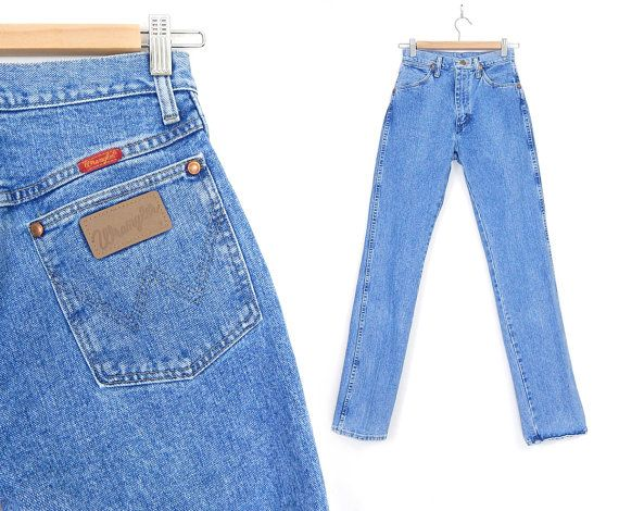 Sz 2 / 3 L High Waisted Wrangler Mom Jeans - 80s 90s Vintage Straight Leg Stone Washed Blue Tall Women's Jeans - Denim Cowgirl Dungarees