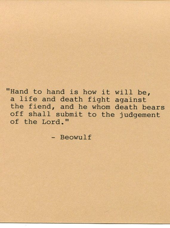 Beowulf Quote Made on Typewriter Quote Art  by FlightOfFancyPrints
