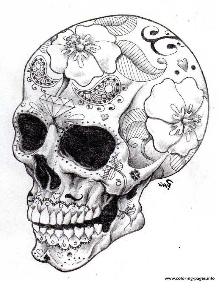 Print real sugar skull precision hd hard coloring pages