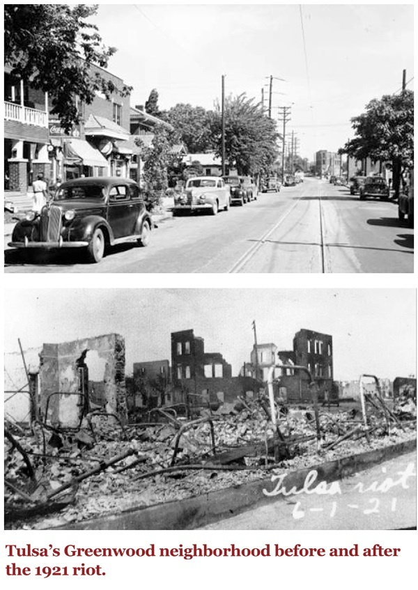 Tulsa's Greenwood neighborhood before and after the 1921 riot.    (Photo: via Zinn Education Project)