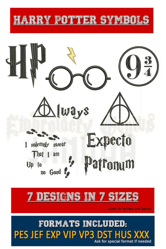 Harry Potter symbolen borduurwerk 7 ontwerpt (7 maten) superheld Disney HP Logo altijd Deathly Hollows glazen Expecto Patronum Marauders kaart