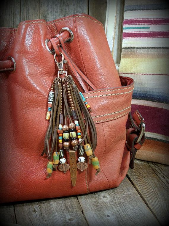 Purse Tassel, Leather Fringe, Tribal Purse Clip, Bohemian Leather Fringe Clip, by StoneWearDesigns