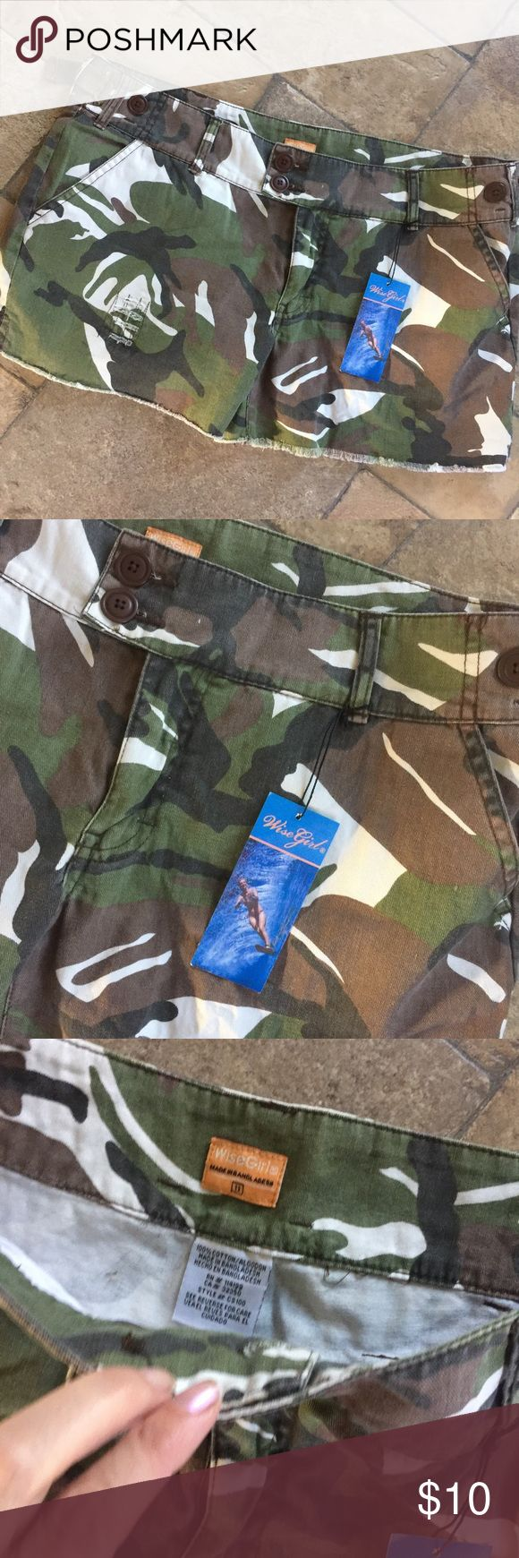 Wise Girl Camouflage Shorts NWT New with tags camouflage shorts by Wise Girl,Sz 11 Wise Girl Shorts