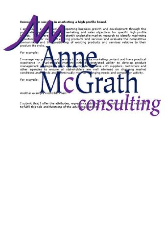 Marketing - Demonstrate success in marketing a high profile brand – Professional Resumes @ Anne McGrath Consulting