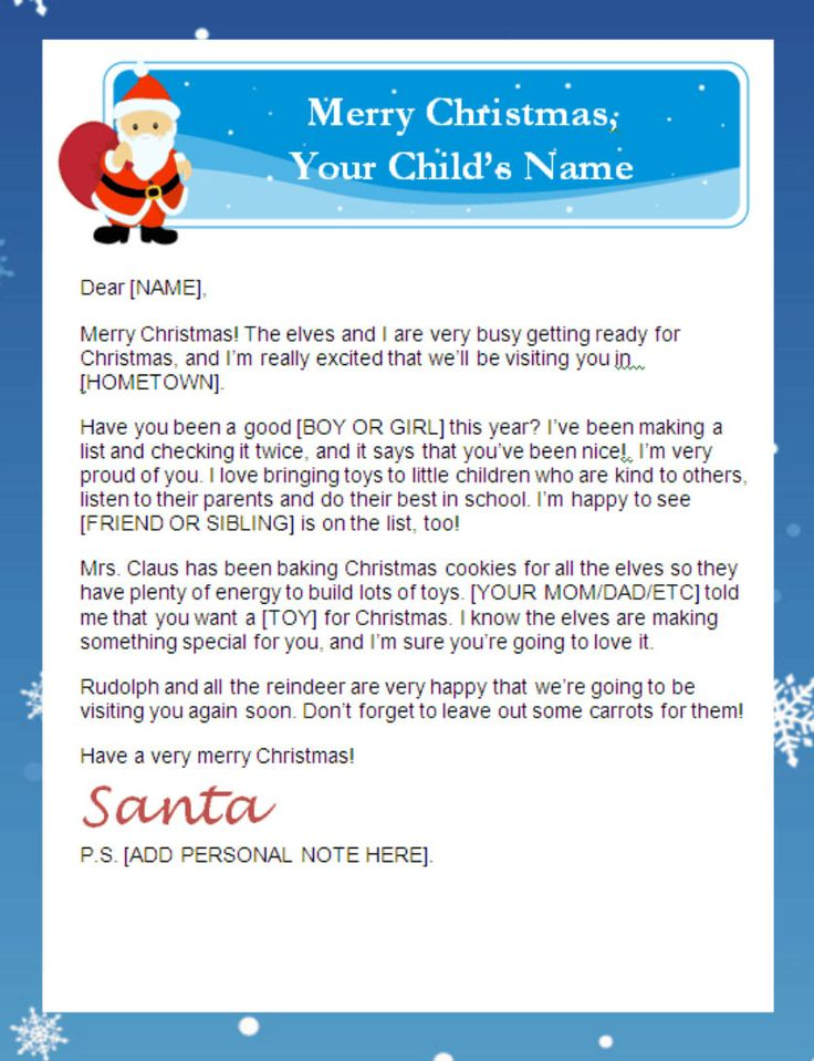 Letter From Santa Templates Free | Printable Santa Letters - Personalized, Printable Letters from Santa ...