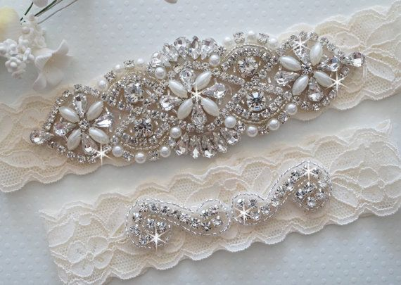 Mia garter is made with a beautiful patterned, soft, stretch lace and embellished with numerous sparkling glass crystals and luxurious pearls .