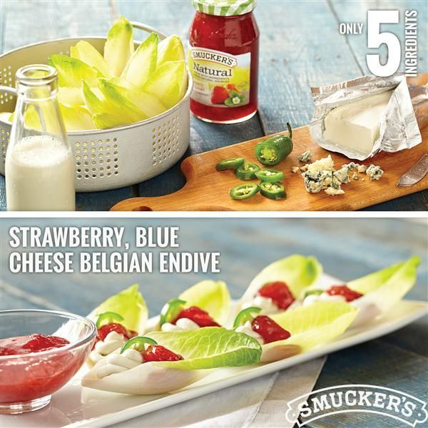 Strawberry, Blue Cheese Belgian Endive