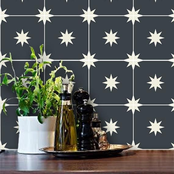 Moroccan Starry Night Black Removable Vinyl Wallpaper Peel Etsy Peel And Stick Floor Stick On Tiles Peel And Stick Tile