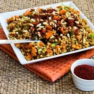 Recipe for vegan quinoa salad with roasted sweet potato, apples, dried ...