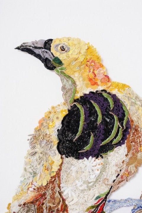 these are so cool.  louise saxton makes collages out of reclaimed needlework
