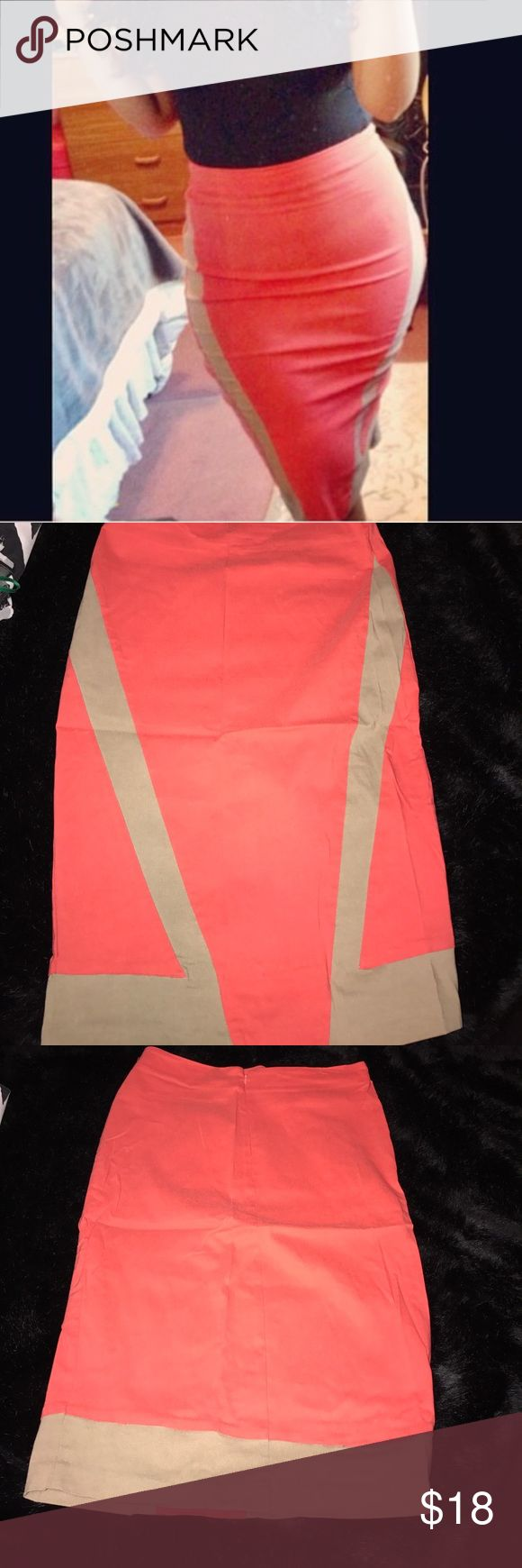 """Kardashian Kollection coral pencil skirt - XL Worn once. Beautiful tan and coral polyester skirt. Size would be equal to 10-12 but it's very stretchy. Skirt is 28"""" long. NO TRADES Kardashian Kollection Skirts Pencil"""
