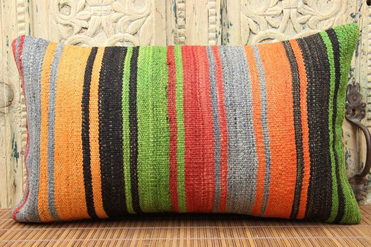 Handmade Lumbar Kilim pillow cover 14x24 inches Accent kilim pillow Handwoven Cushion covers Stripe Pillow Oblong pillow C-134 by stripepattern on Etsy