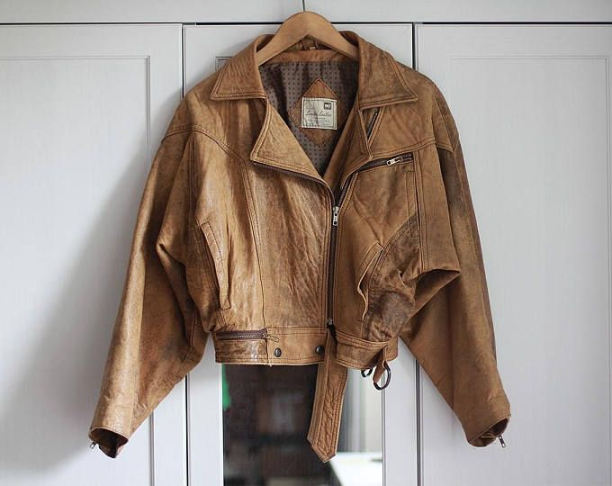 Vintage Leather Biker Jacket Camel Beige Brown Genuine Grunge Retro 90s 80s Rock n Roll Look Padded Zips and straps / Extra Large size