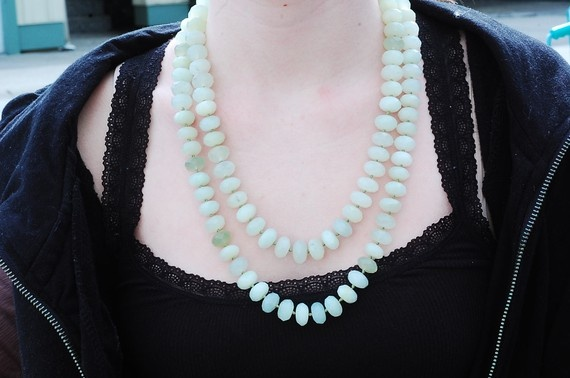 Large jade rondels necklace with recycled by NicoleThomasJewelry, $189.00