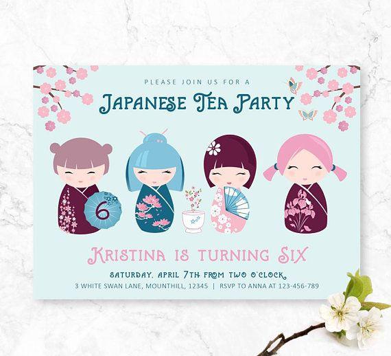 Japanese Doll Birthday Invitation Kokeshi Doll Girls Etsy Girl Birthday Party Invitations Tea Party Invitations Girl Invitations