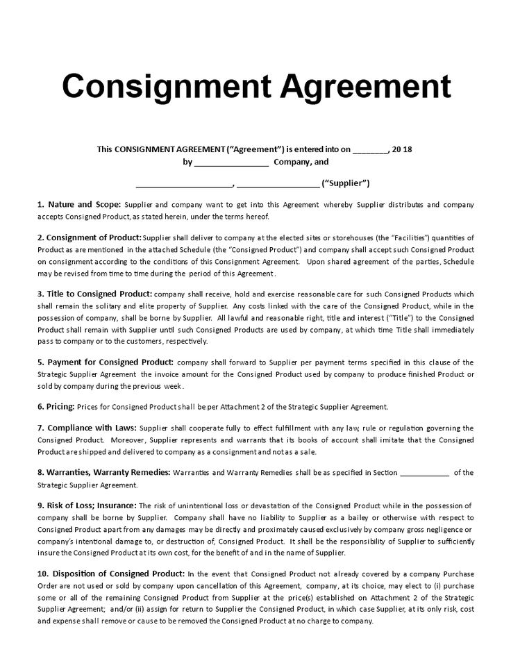Consignment Agreement Template  Are You Looking For A