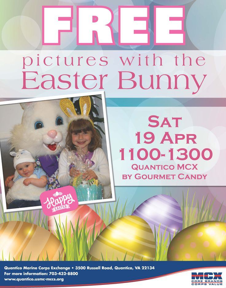 Pictures with the Easter Bunny at the Quantico MCX.