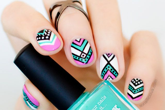 You're right, you haven't see this Aztec Nail Design before! It's in the #ThrowbackThursday category because I did them for a project that will be launching
