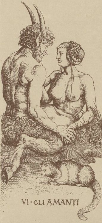 templeofapelles: Albrecht Durer Tarot card VI. The Lovers  Omne animal triste post coitum