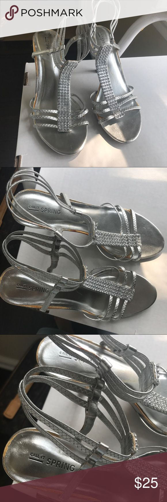 Call It Spring Silver Rhinestone Heels Size 8 Wore these heels once to prom! Has signs of shelf wear as shown in photos but they're mostly on the soles of the shoes. Beautiful for a variety of occasions! Call It Spring Shoes Heels